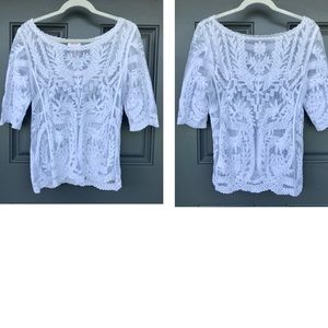 Laundry by Shelli Segal White Sheer Top